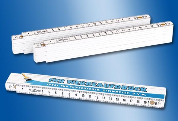 ZOLLSTOCK Kunststoff 2 m weiß, individuell bedruckt