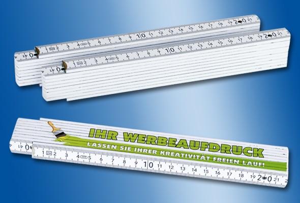 HOLZ-ZOLLSTOCK 2 m weiß Sonderausstattung 90°-Winkeleinrastung, individuell bedruckt